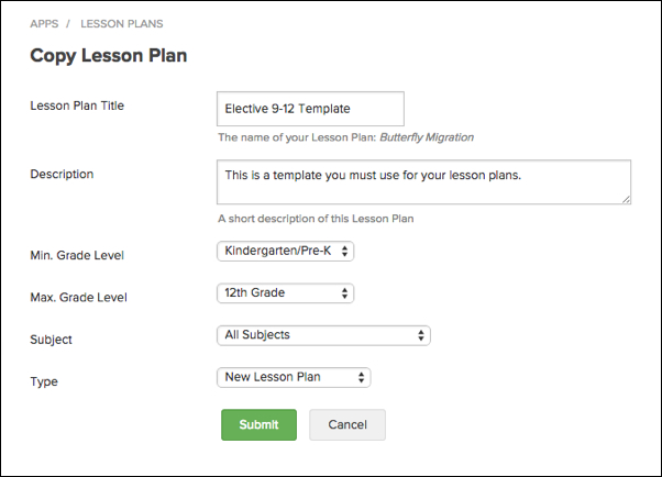 Create Lesson Plan from Template – Engrade Pro
