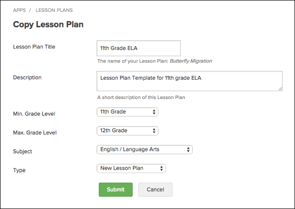 Create Lesson Plan From Template Engrade Pro