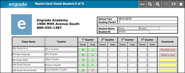 View Student Report Cards  Engrade Pro